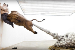 "This Is One Crazy Sculpture! See The ""Farting Bull"" Pinning Bernie Madoff To The Wall"