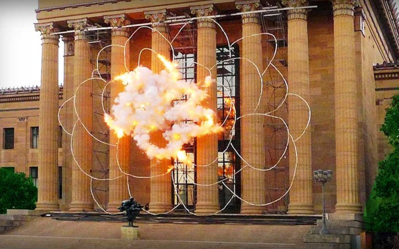 A Pyrotechnic Art Exhibition Explodes Into A Blossom On The Steps Of A Museum