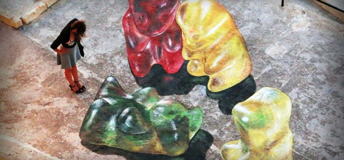 Sidewalk Paintings of HUGE Gummy Bears Come To Life When Viewed From Above