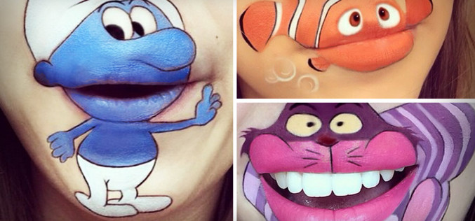 Make-up Artist Creates Cartoon Lip-Art