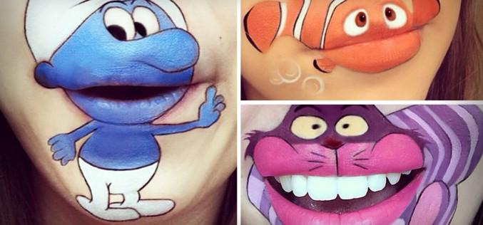 Make-up Artist Creates Cartoon Lip-Art