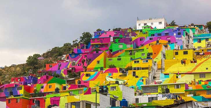 rainbow mural buildings