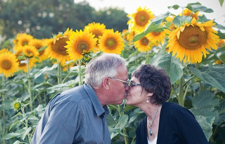kissing in front of sunflowers
