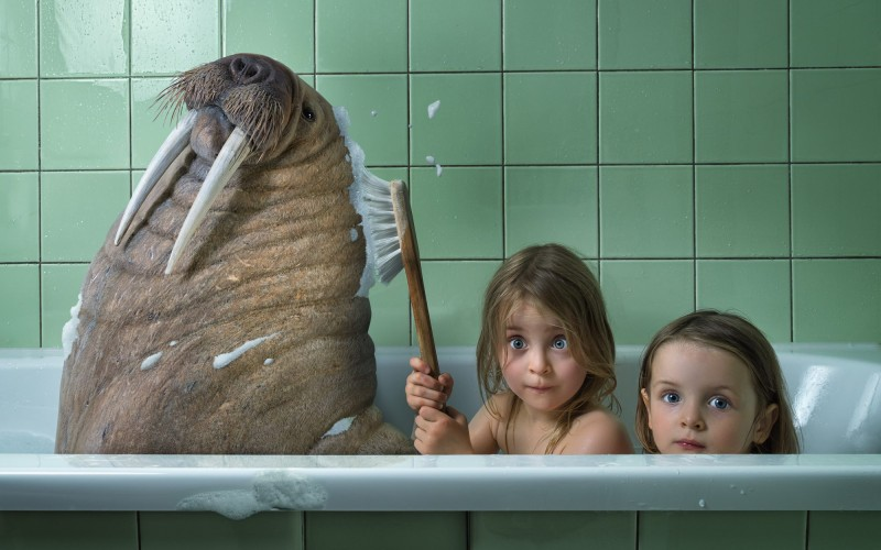 Father Makes Crazy PhotoShop Scenes With His Three Daughters